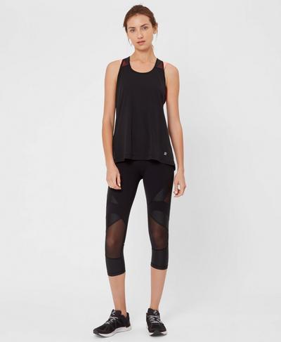 Power Mesh Cropped Gym Leggings, Black | Sweaty Betty