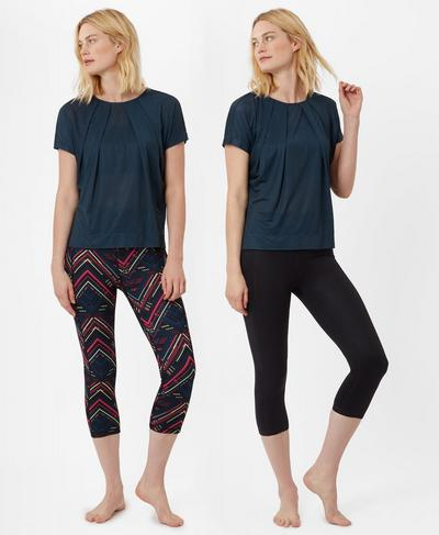 Reversible Crop Yoga Leggings, Beetle Blue Commuter Chevron Print | Sweaty Betty