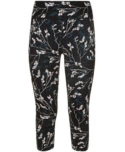 Reversible Crop Yoga Leggings, Black Floral Grid Print | Sweaty Betty
