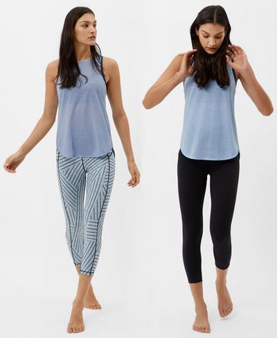 Reversible Crop Yoga Leggings, Denim Stripe Print | Sweaty Betty