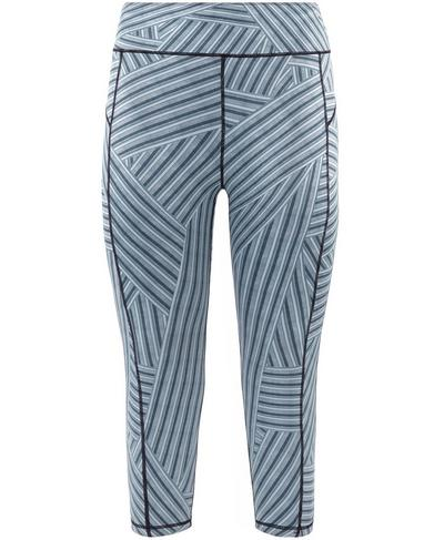Reversible Crop Yoga Leggings, Denim Stripe Print | Sweaty Betty
