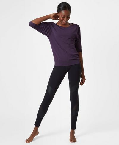 Dharana Short Sleeve Yoga Tee, Aubergine | Sweaty Betty