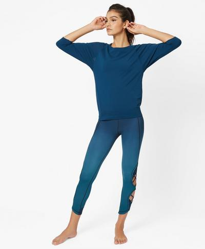 Dharana Short Sleeve Yoga T-Shirt, Beetle Blue | Sweaty Betty