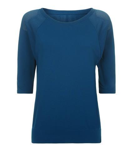Dharana Short Sleeve Yoga Tee, Beetle Blue | Sweaty Betty