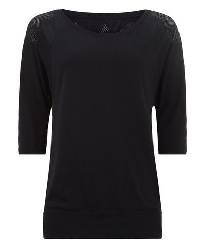 Dharana Short Sleeve Yoga Tee, Black | Sweaty Betty