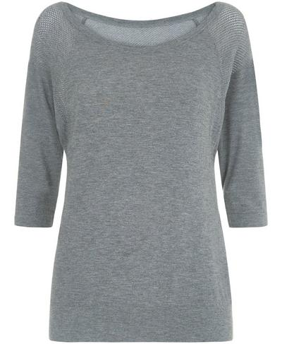 Dharana Bamboo Short Sleeve Yoga Tee, Charcoal Marl | Sweaty Betty