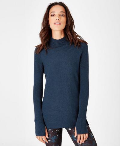 Utility Merino Sweater, Beetle Blue | Sweaty Betty