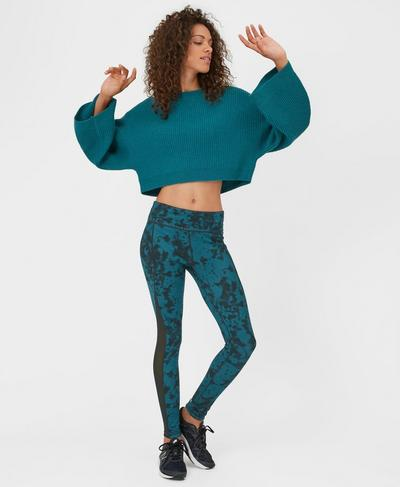 Blossom Knitted Crop Top, Dark Teal | Sweaty Betty
