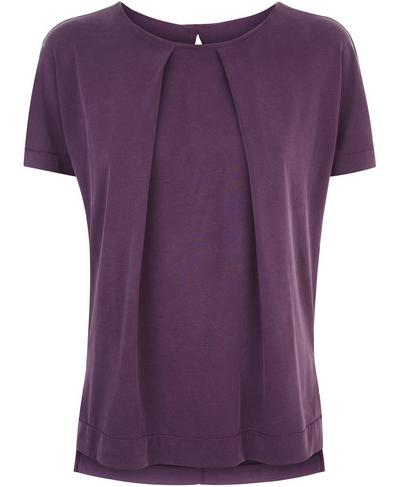 Hinoki Pleat Tee, Aubergine | Sweaty Betty