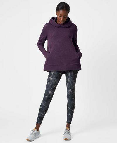 Pleat Tech Run Hoodie, Aubergine | Sweaty Betty