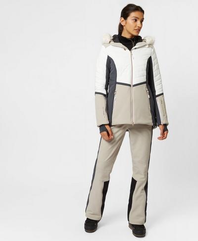Method Hybrid Ski Jacket, White Slate String | Sweaty Betty