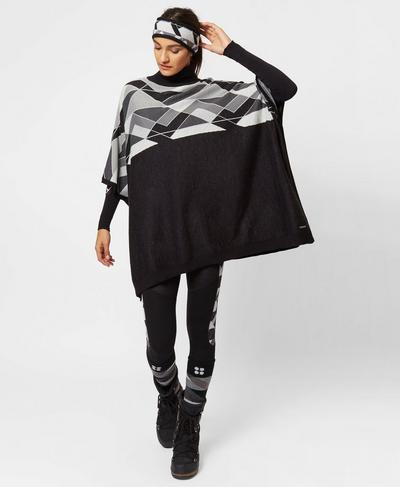 Yeti Knitted Poncho, Black Greyscale   Sweaty Betty
