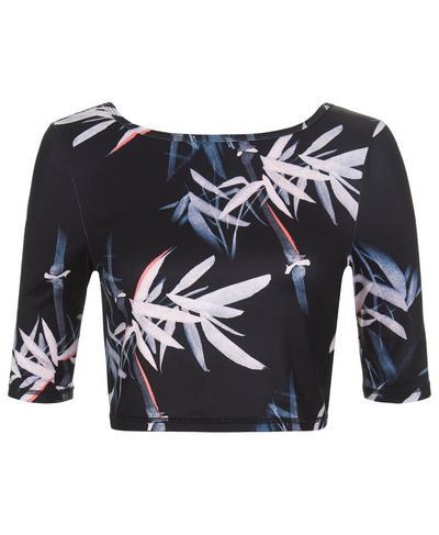 Midi Sleeve Crop Top, Dark Bamboo Print   Sweaty Betty