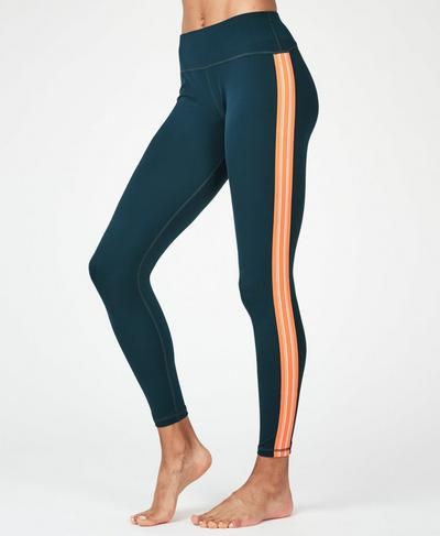 Contour Workout Leggings, Beetle Blue Stripe | Sweaty Betty