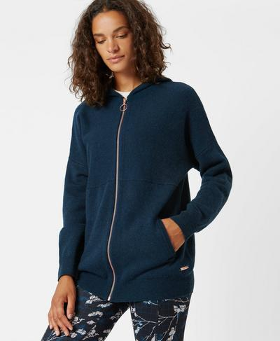 Assemble Wool Cashmere Knitted Hoody, Beetle Blue | Sweaty Betty