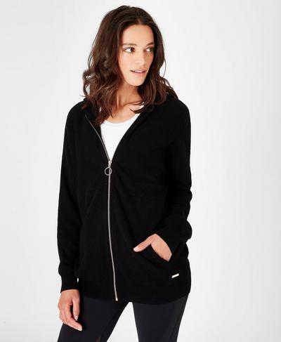 Assemble Wool Cashmere Knitted Hoodie, Black | Sweaty Betty
