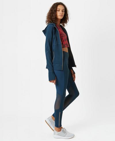 Zipped Up Textured Leggings, Beetle Blue | Sweaty Betty