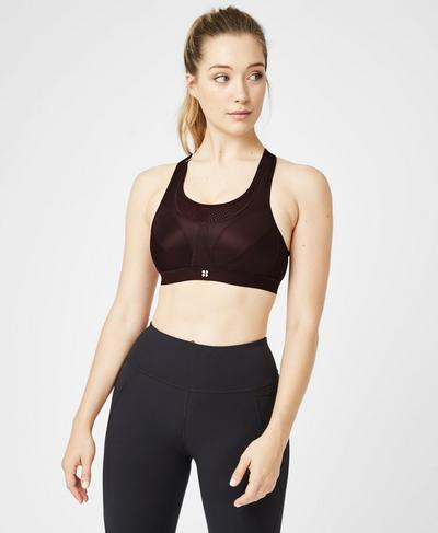 Ultra Run Sports Bra, Black Cherry | Sweaty Betty