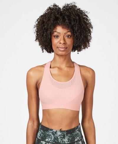 Ultra Run Sports Bra, Liberated Pink   Sweaty Betty