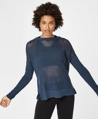 Amity Knitted Sweater, Beetle Blue | Sweaty Betty