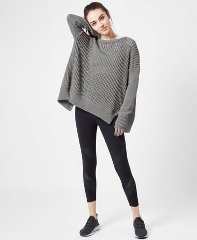 Luxe Amity Knitted Sweater, CHARCOAL | Sweaty Betty