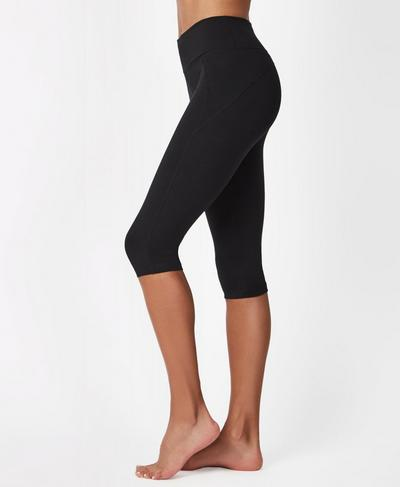 Contour Crop Workout Leggings, Black | Sweaty Betty