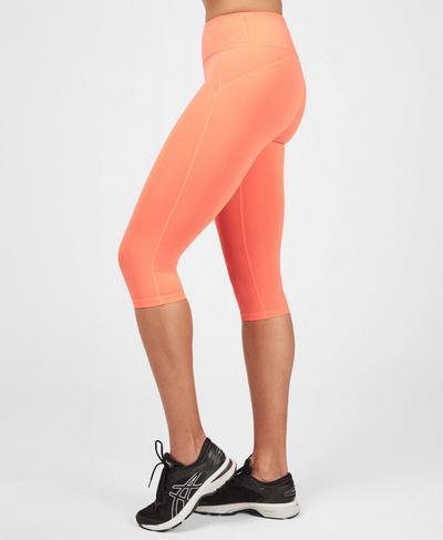 Contour Capri Workout Leggings, Fluro Flash Pink | Sweaty Betty