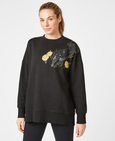 Tora Sweatshirt, Black Leopard | Sweaty Betty