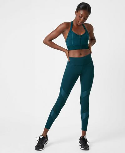 Upbeat Padded Workout Bra, Midnight Teal | Sweaty Betty