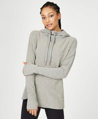 Invigorate Luxe Hoodie, Light Grey Marl | Sweaty Betty