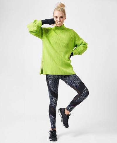 Mork Knitted Sweater, Green Alert | Sweaty Betty