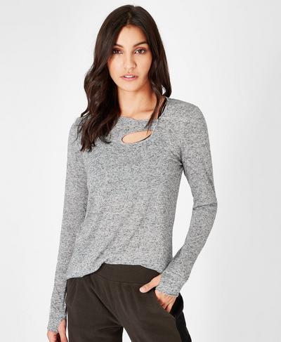 Bandha Long Sleeve Yoga Top, CHARCOAL | Sweaty Betty