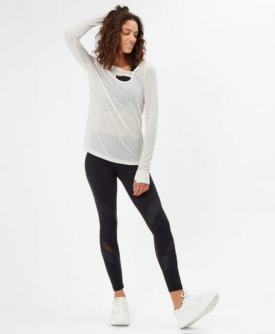 Twist Long Sleeve Yoga Top, Oatmeal Marl | Sweaty Betty