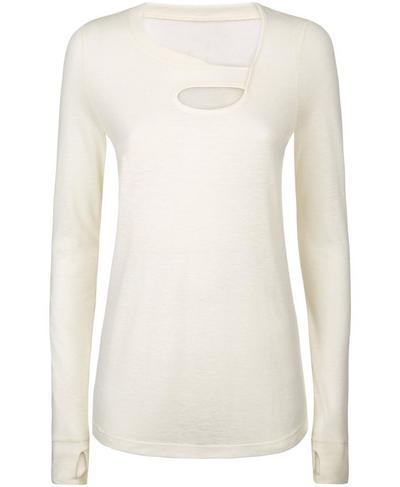 Twist Long Sleeve Yoga Top, Oatmeal Marl | Sweaty Betty