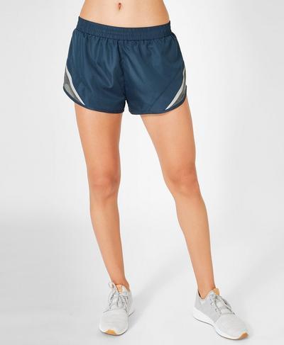 Interval Run Shorts, Beetle Blue Colour Block | Sweaty Betty