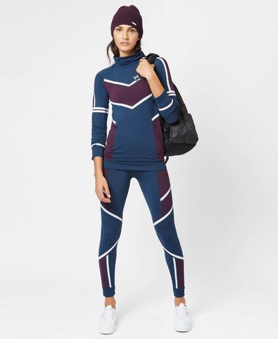 Drift Seamless Long Sleeve Base Layer Top, Beetle Blue Jacquard | Sweaty Betty