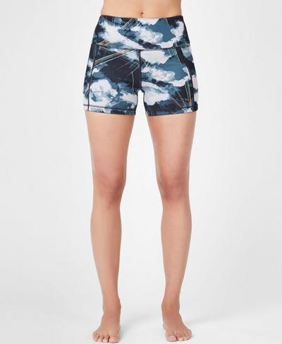 Reversible Yoga Shorts, Black Cloud Print | Sweaty Betty
