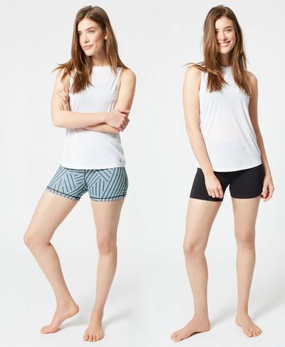 Reversible Yoga Shorts, Denim Stripe Print | Sweaty Betty