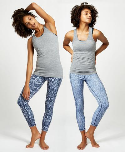 Reversible 7/8 Yoga Leggings, Beetle Blue High Tea Print | Sweaty Betty