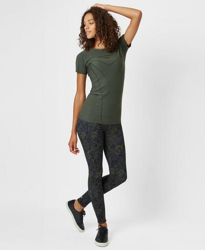 Luxe Finish Line T-Shirt, Olive | Sweaty Betty