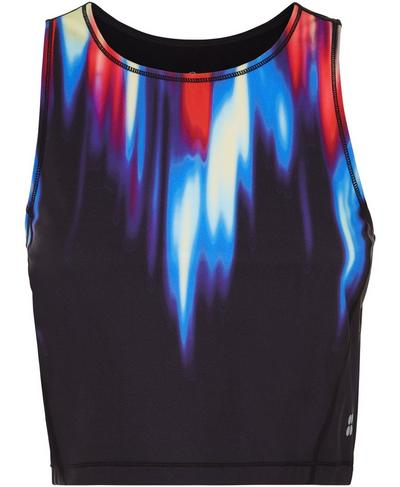 Kenza Power Crop Tank, Black Strobe Placement Print | Sweaty Betty