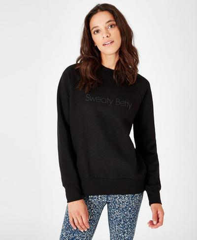 Crew Neck Fashion Sweat, Black | Sweaty Betty
