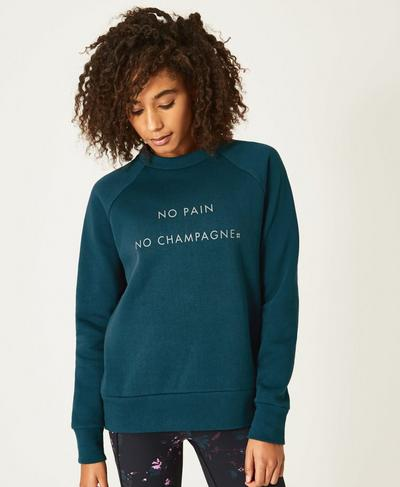 Crew Neck Fashion Sweat, Midnight Teal | Sweaty Betty