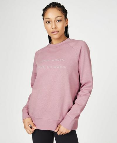 Crew Neck Fashion Sweat, Velvet Rose | Sweaty Betty