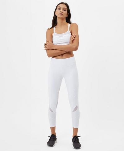 Power Wetlook Mesh 7/8  Leggings, White   Sweaty Betty