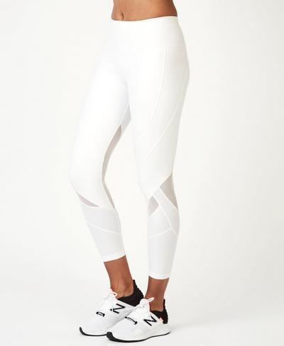 Power Wetlook Mesh 7/8  Leggings, White A | Sweaty Betty