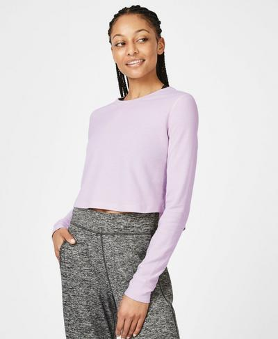 Waffle Crop Long Sleeve Top, LILAC | Sweaty Betty