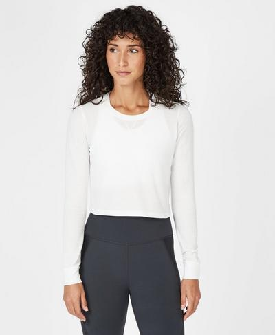 Waffle Crop Long Sleeve Top, Off White | Sweaty Betty