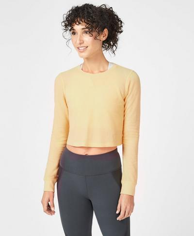 Waffle Crop Long Sleeve Top, Yellow | Sweaty Betty