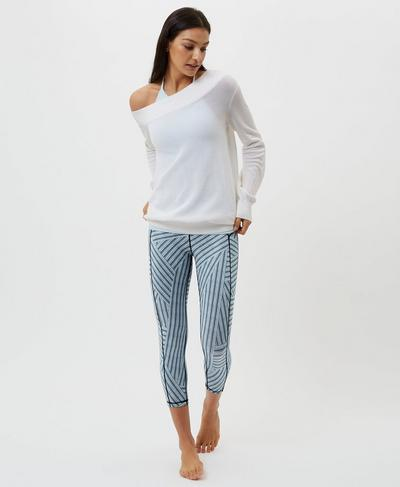 Enliven One Shoulder Knitted Top, White   Sweaty Betty
